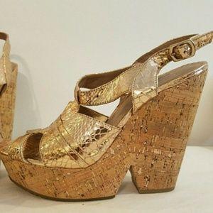 BCBGeneration Cork Bronze Strappy heels Sz 6.5